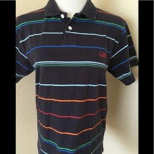 Big boy's polo shirt striped navy blue knit cotton